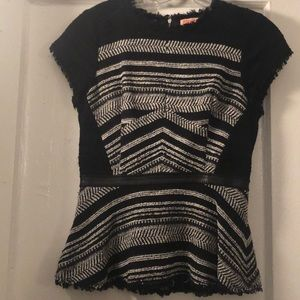 Alice & Olivia tweed top with leather detail